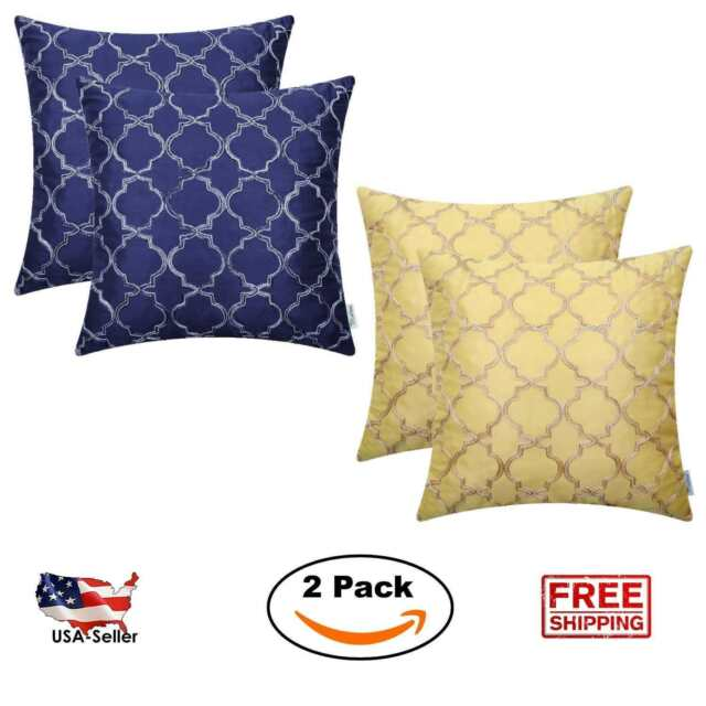 2 Pack Set 18 x 18 Pillow Covers Faux Silk Case Square Throw Cushion Couch Sofa