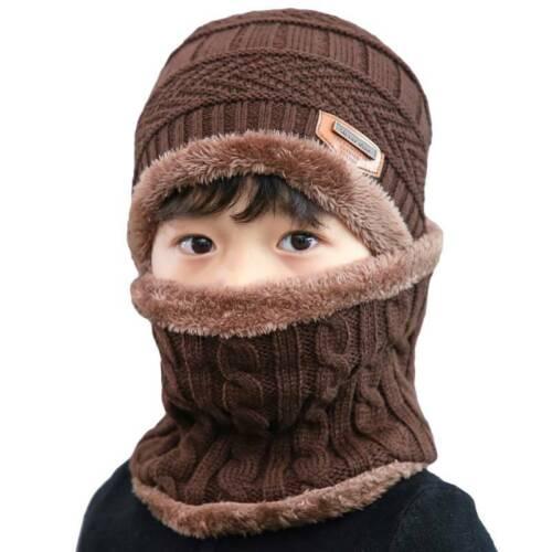 2-Pieces Men Kids Winter Beanie Hat+Scarf Set Warm Knit Thick Fleece Lined Cap