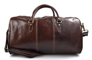 Dettagli su Borsone uomo donna borsa viaggio con manici e tracolla marrone vera pelle