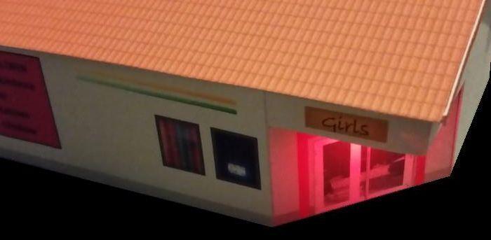 Nachtclub  XXX Club  TT; FSK 18, mit Beleuchtung, Epoche 5 6 Kartonmodellbausatz