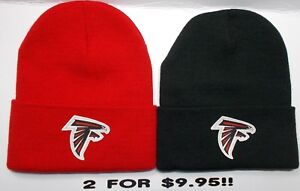 READ-LISTING-Atlanta-Falcons-HEAT-APPLIED-Flat-Logos-on-2-Beanie-Knit-Cap-hat