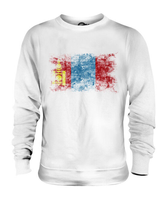 MONGOLIA DISTRESSED FLAG UNISEX SWEATER TOP MONGOL ULS FOOTBALL MONGOLIAN SHIRT