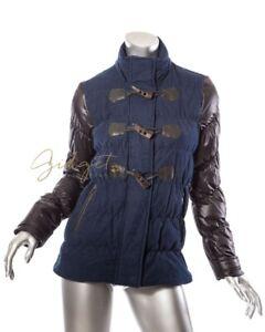 Details About Chevignon France Size S Blue Black Down Quilted Duffle Coat Jacket