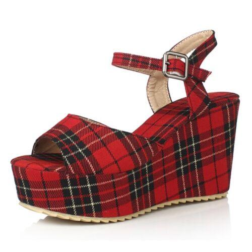 Vérifiez Collegiate Talons Compensés Sandales British Style Plaid filles chaussures