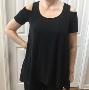 NWT-Jones-New-York-Women-s-Open-Cold-Shoulder-Black-Blouse-Top-Sz-L-MSRP-49