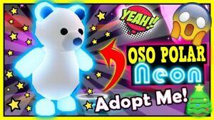 Read Desc Neon Polar Bear Pet Fnr Adopt Me Roblox Flyable