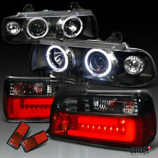 92-98 BMW E36 Black Halo Projector Headlight+Red Smoke 3D LED Brake Tail Lamp