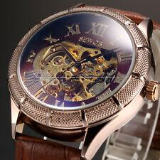 U.S.A Mens Roman Automatic Mechanical Skeleton Dial  Leather Sport Wrist Watch