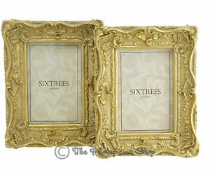 Two-Shabby-amp-Chic-Vintage-Ornate-Antique-Gold-Photo-frames-for-a-6-034-x4-034-Picture