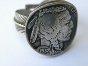 Biker-ring-Buffalo-Indian-Nickel-coin-sterling-silver-adjustable-feather-gift