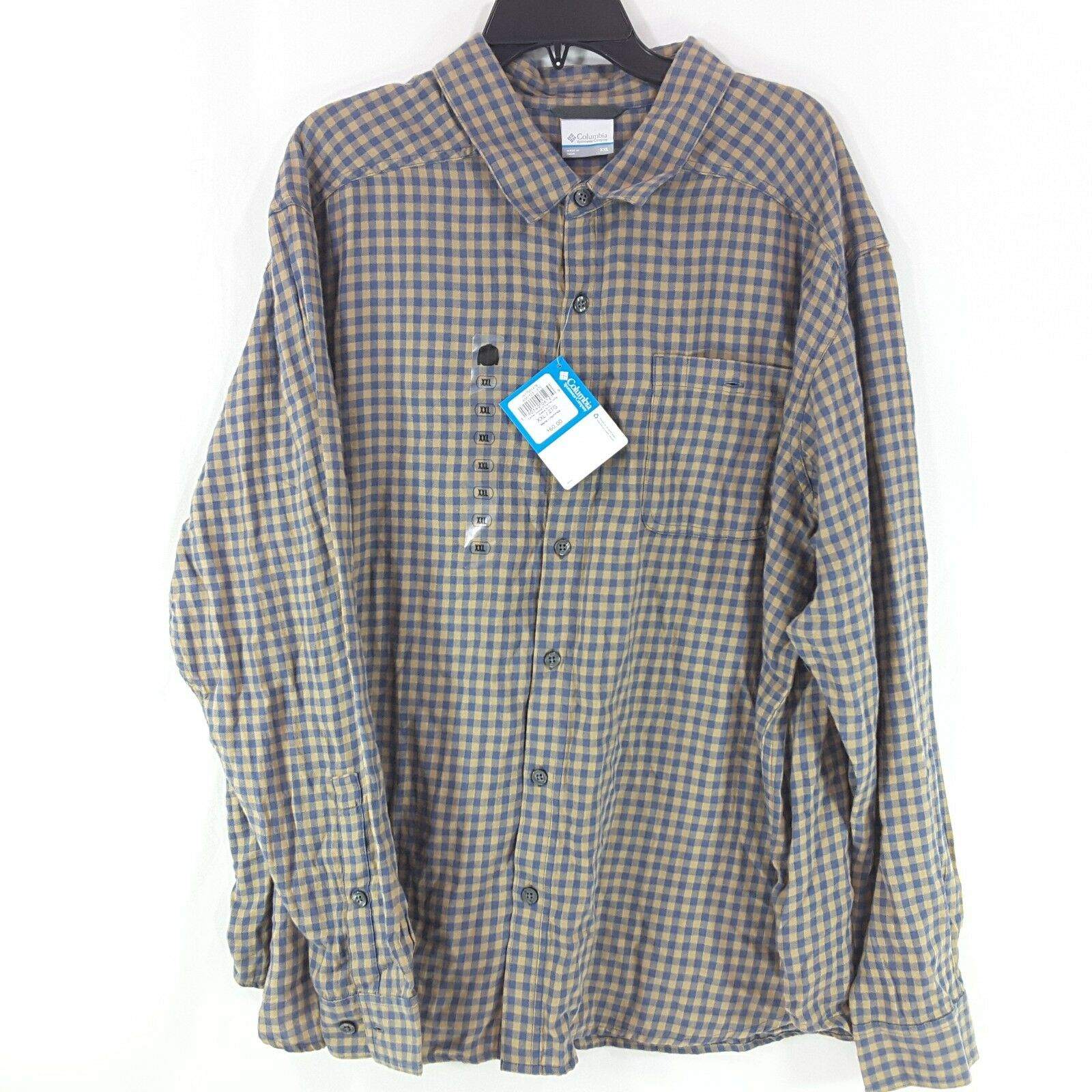 NEW Columbia Mens Shirt 2XL bluee Cornell Woods Flannel Long Sleeve Sportswear