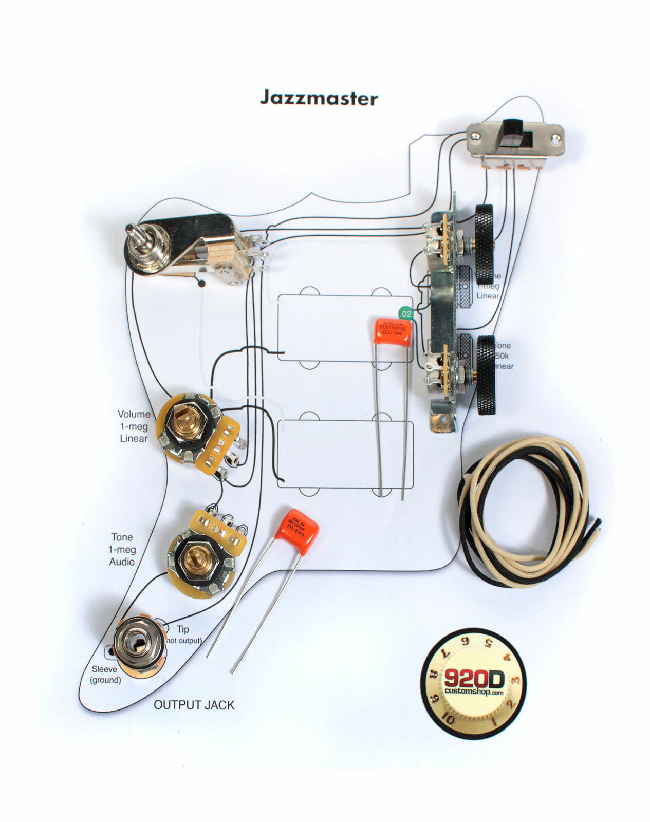 Fender Vintage Jazzmaster Wiring Kit - Pots Switch Slider Caps Bracket  Diagram for sale online   eBayeBay