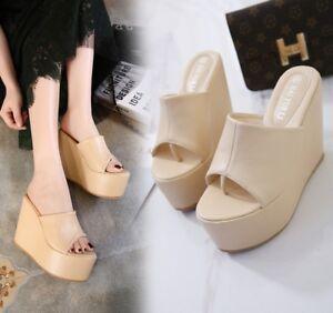 Womens-Platform-Wedge-High-Heels-Peep-Toe-Flip-Flop-Slipper-Sandals-Casual-Shoes