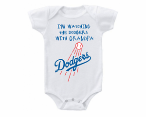Los Angeles Dodgers Onesie Bodysuit Shirt Watching With Grandpa