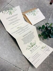 Details About 1 Concertina Fold Alice Botanical Greenery Wedding Invitation Card Sample