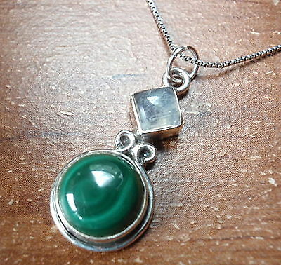 Rainbow Moonstone Malachite 925 Sterling Silver Necklace Round and Square New