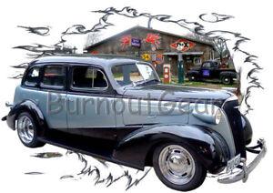 d78cbf91 1937 Black Chevy Sedan Custom Hot Rod Garage T-Shirt 37 Muscle Car ...
