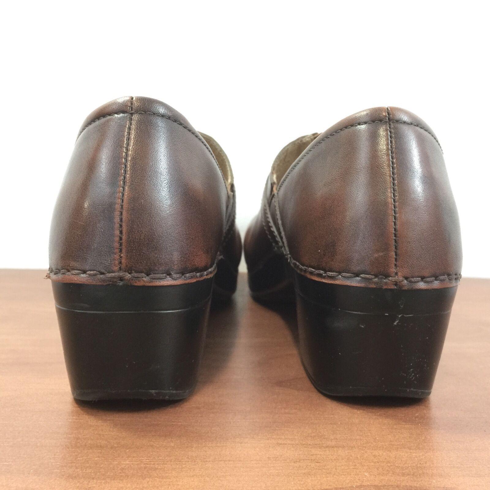 DANSKO Solstice Braun Leder Button Strap Slip on Clog Schuhes Damenschuhe 42 /11.5-12