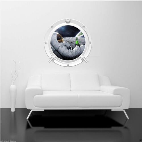 Full Colour ASTRONAUT MOON SPACE PORTHOLE wall sticker decal transfer WSD223
