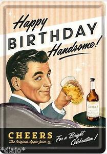 Nostalgic Art Blechpostkarte Happy Birthday Cheers Geburtstag Prost