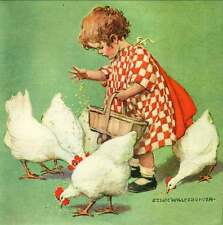 A1 A2 A3 A4 A5 Gone Feeding the Chicken Hens Vintage Art Print Poster