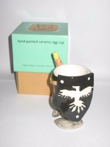 BNIB COLLECTABLE BLACK KNIGHT HANDPAINTED CERAMIC EGG CUP IDEAL XMAS PRESENT