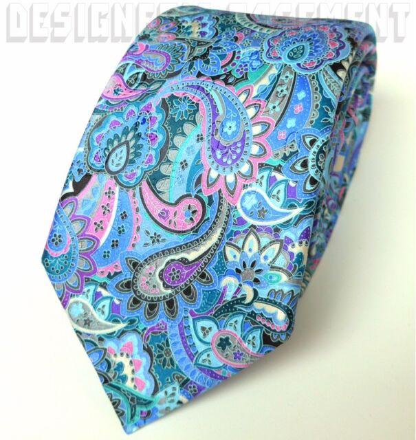 563f300993bd ERMENEGILDO ZEGNA Limited Edition QUINDICI aqua/pink PAISLEY silk Tie NWT  Authen