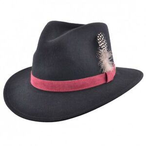 Crushable Felt Fedora Hat 100% Felt Wool With Feather Pin Black ... 3965a0ea95fc