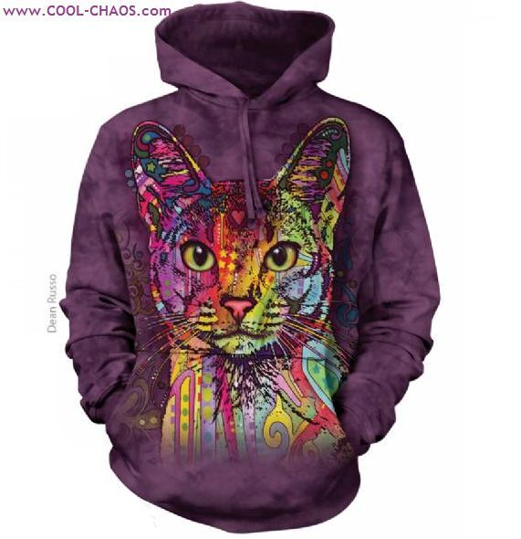 Grafitti Rainbow Cat Hoodie  Exotic Cat,Purple Tie Dye Hoodie,Unique Dean Russo