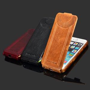 For-Apple-iPhone-5-SE-PIERRE-CARDIN-Genuine-Leather-Skull-patch-Hard-Back-Case