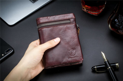 Genuine Leather RFID Blocking Slim Wallet with Coin Pocket For Men and Women