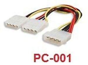 "PC-001 CablesOnline 6/"" Internal 5.25/"" Y Power Splitter"