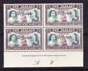 NEW ZEALAND 1940 2d CENTENNIAL OFFICIAL PLATE BLK 4 #A2 MNH