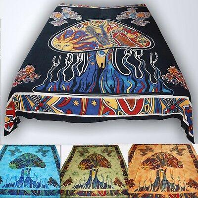 Tagesdecke Wandbehang-MAGIC MUSHROOM-PILZE Dekotuch goaparty indien goa