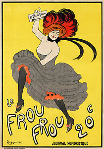 """french Le Frou Frou yellow vintage poster for glass frame 36"""" x 24"""" painting"""