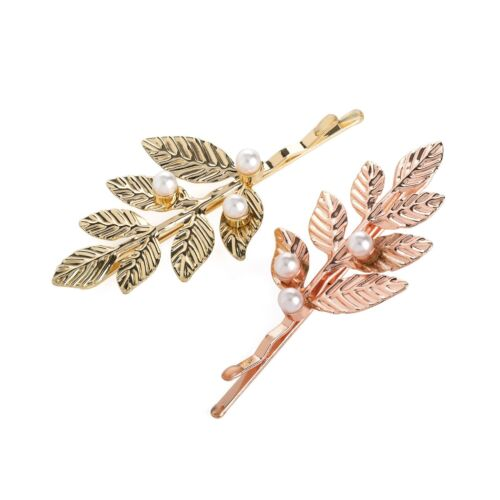 Pair of Rose Gold and Gold Detailed Leaf Pearl Hair Slides Grips Clip Pins Jewel