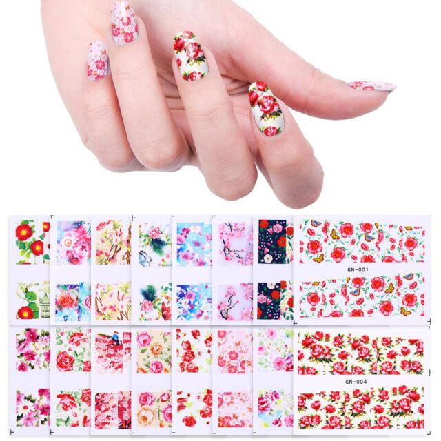 Nail Water Decals Rose Sakura 48 Small Sheets Nail Art Transfer ...