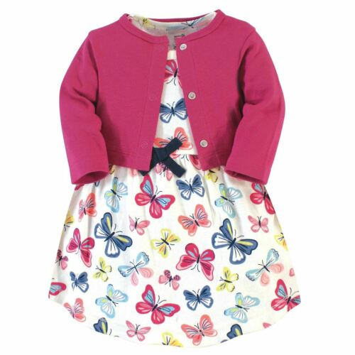 Bright Butterflies Touched By Nature Girl Organic Cotton Dress and Cardigan