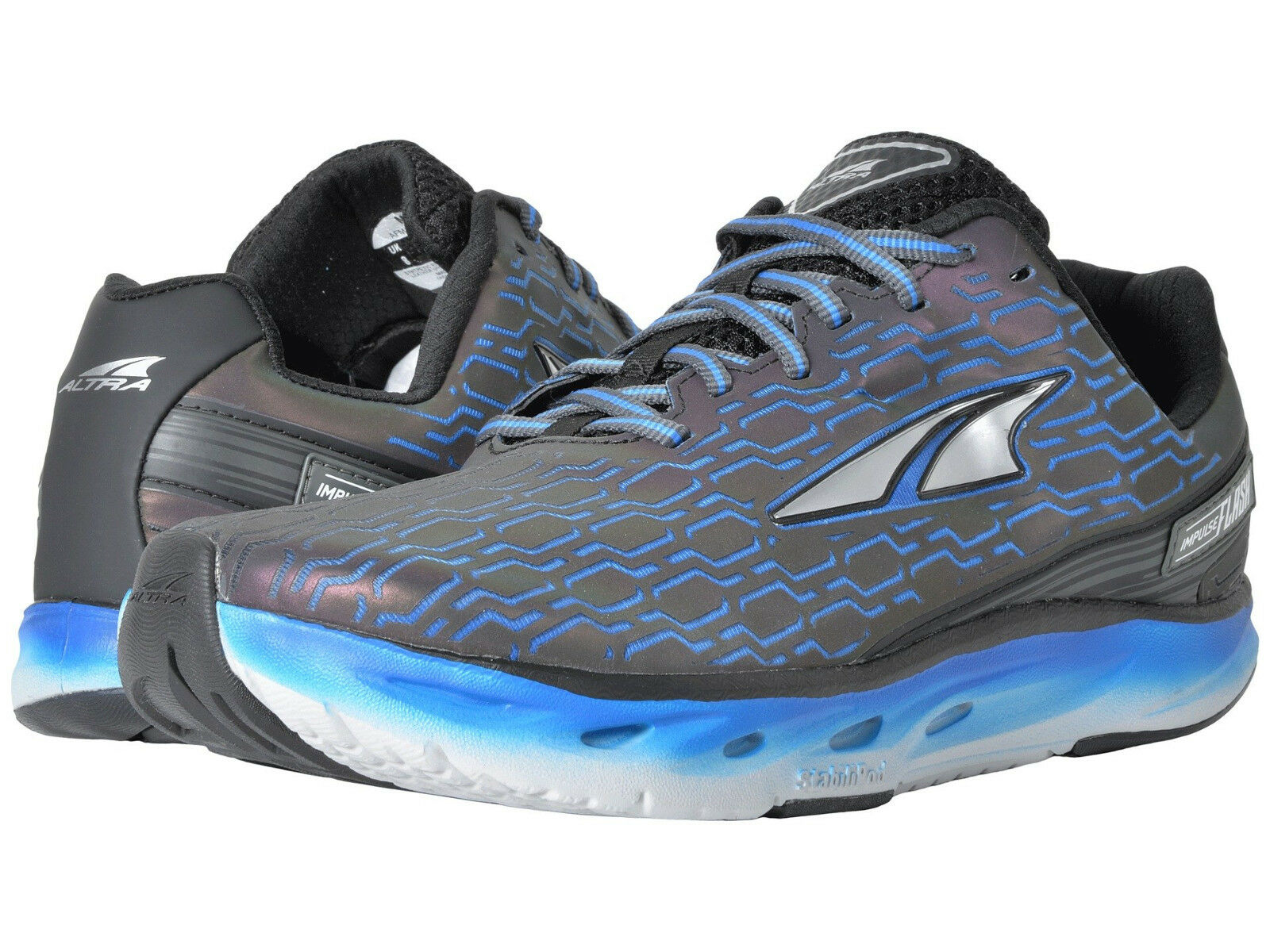 Altra Impulse Flash Running Shoes, Men's Sizes 11.5-12-13 D, Black / Blue, NEW!