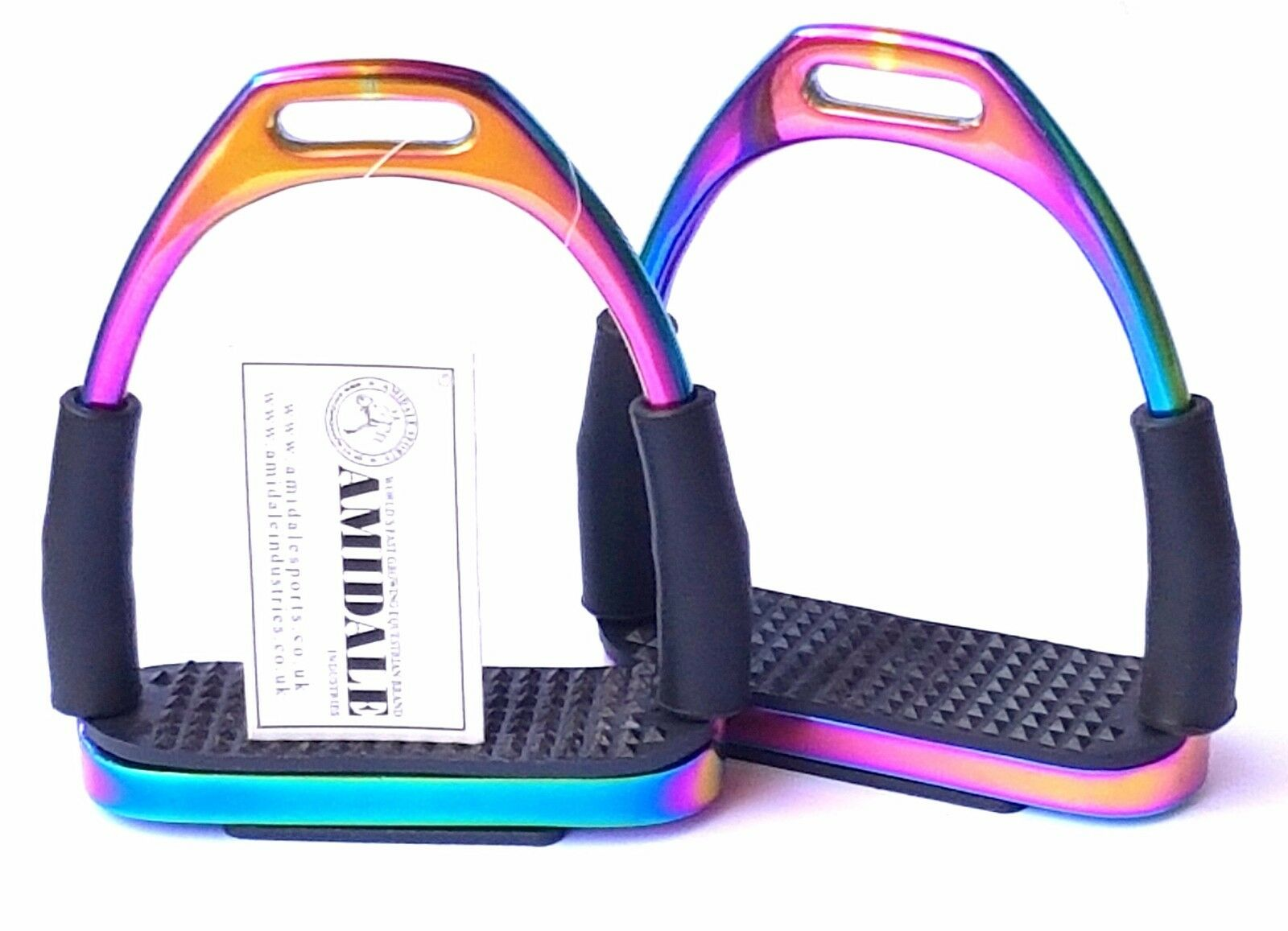 FLEXI RAINBOW SAFETY STIRRUPS HORSE RIDING BENDY IRONS S  STEEL FROM AMIDAL BNWT