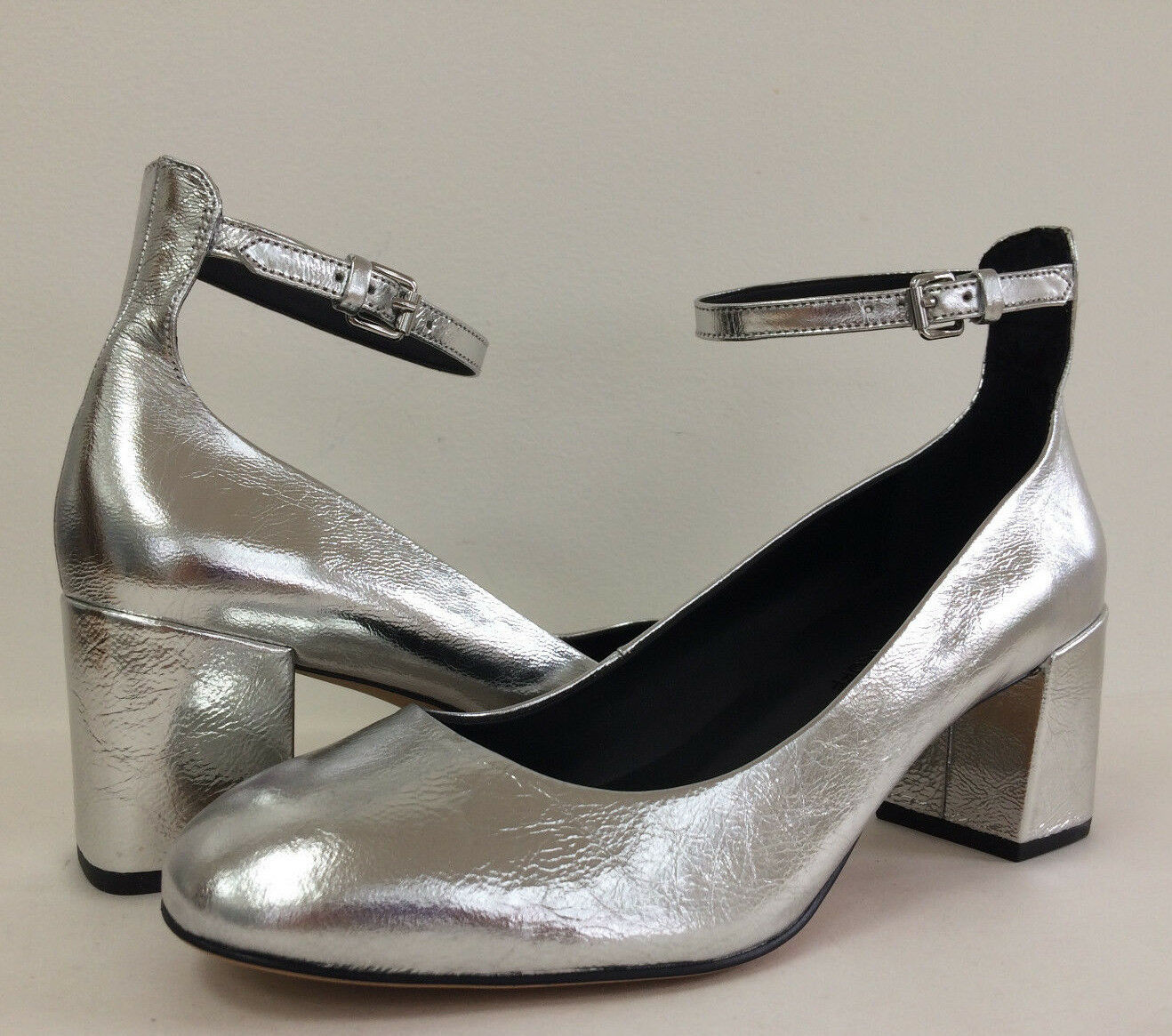 NEU Rebecca Minkoff Bridget Distressed Metallic Mary Janes Ankle Strap Sz 8 8.5