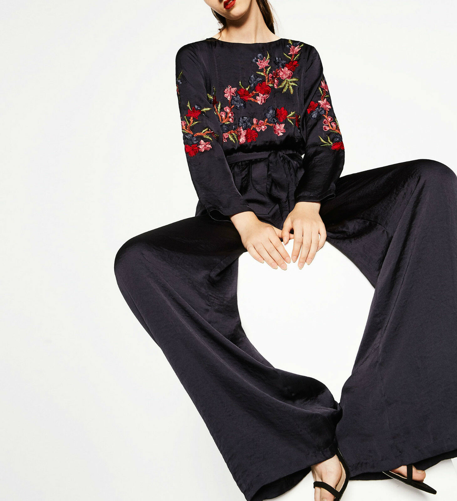 ZARA Wide Flared Leg FLORAL EMBROIDERY Bodice Gathered Waist SILKY Jumpsuit NWT
