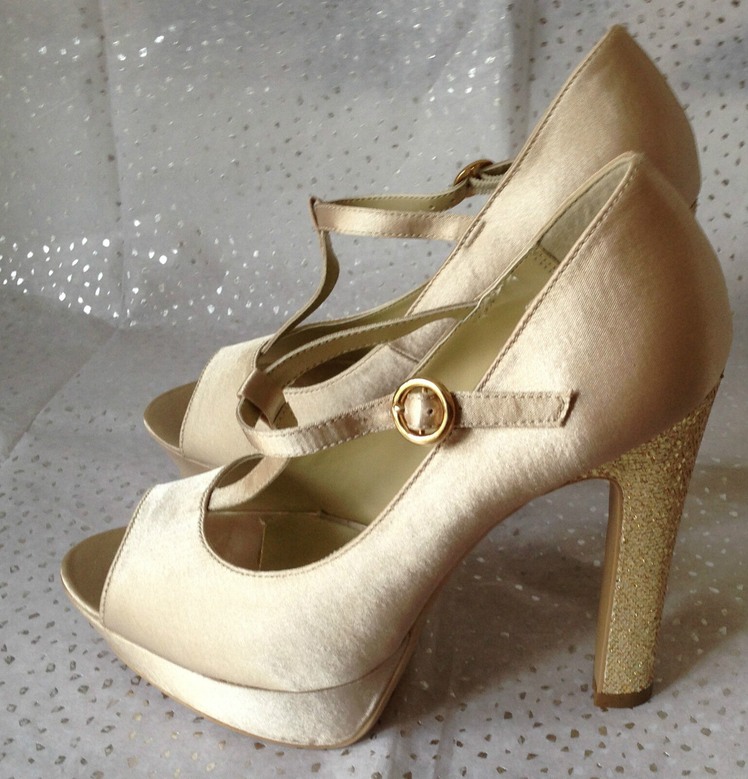 New Gold Look Ivory Satin With Gold New Glitter Heel Wedding Bridal Party Prom Shoes 3f136e