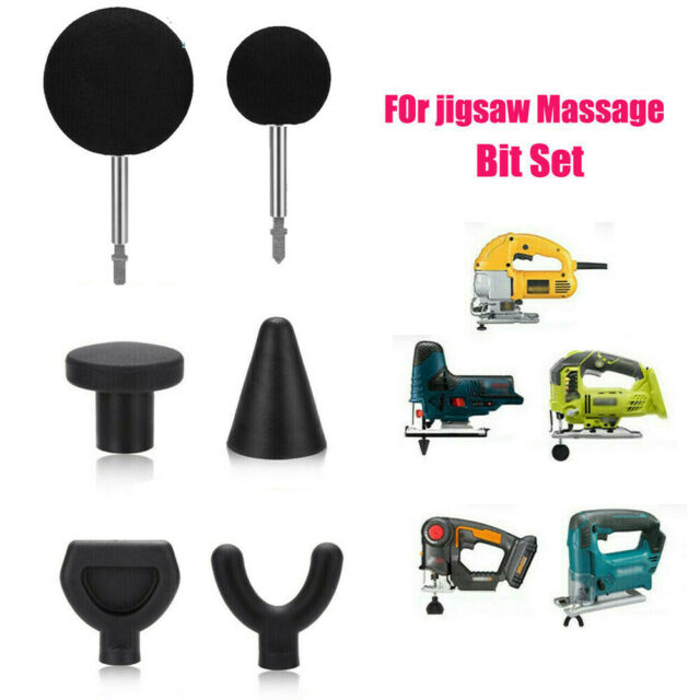 1 Set Percussion Massage 6pcs Tip Bit Kit for Jigsaw Massager Adapter Attachment