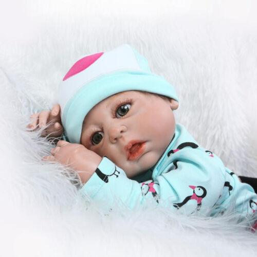 "22/"" Full Body Silicone Vinyl bebe Reborn Baby Girl Doll Newborn Lifelike Gift US"