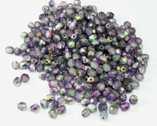 Czech Fire Polished Glass Beads~Crystal Etched Magic Purple~6mm