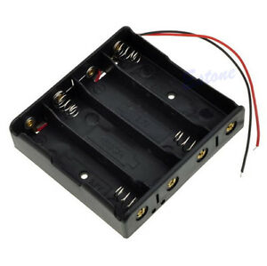 New-Battery-Storage-Case-Plastic-4-x-18650-Box-Holder-Black-With-6-034-Wire-Leads