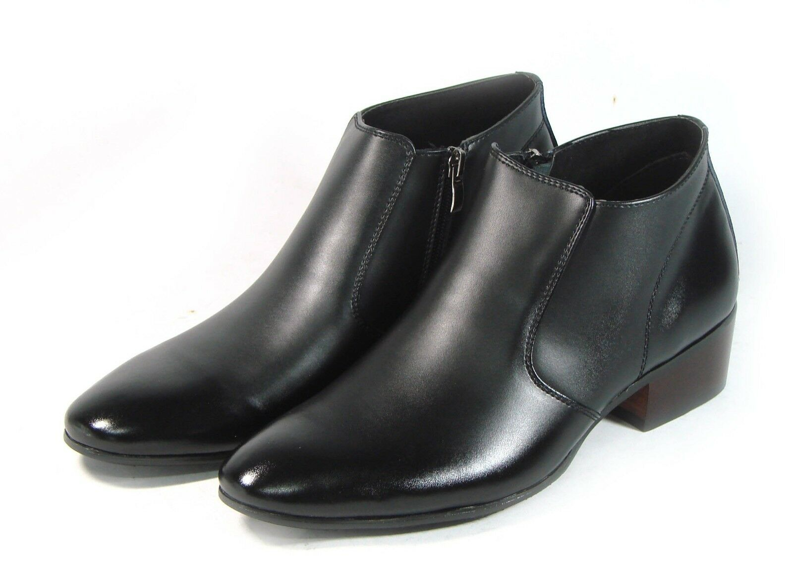 MOODA Men Ankle Boots Shoes Oxfords Dress Formals Leather Round Tip Zippers