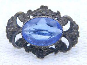 Antique-Victorian-Art-Nouveau-Blue-Glass-Floral-Pin-Brooch