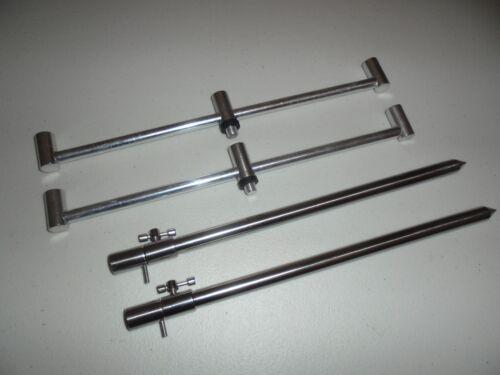 2 TMC en Acier Inoxydable Banque Bâton 30-50 cm et 2 x 3 Rod 30 cm Ali Buzz Bars